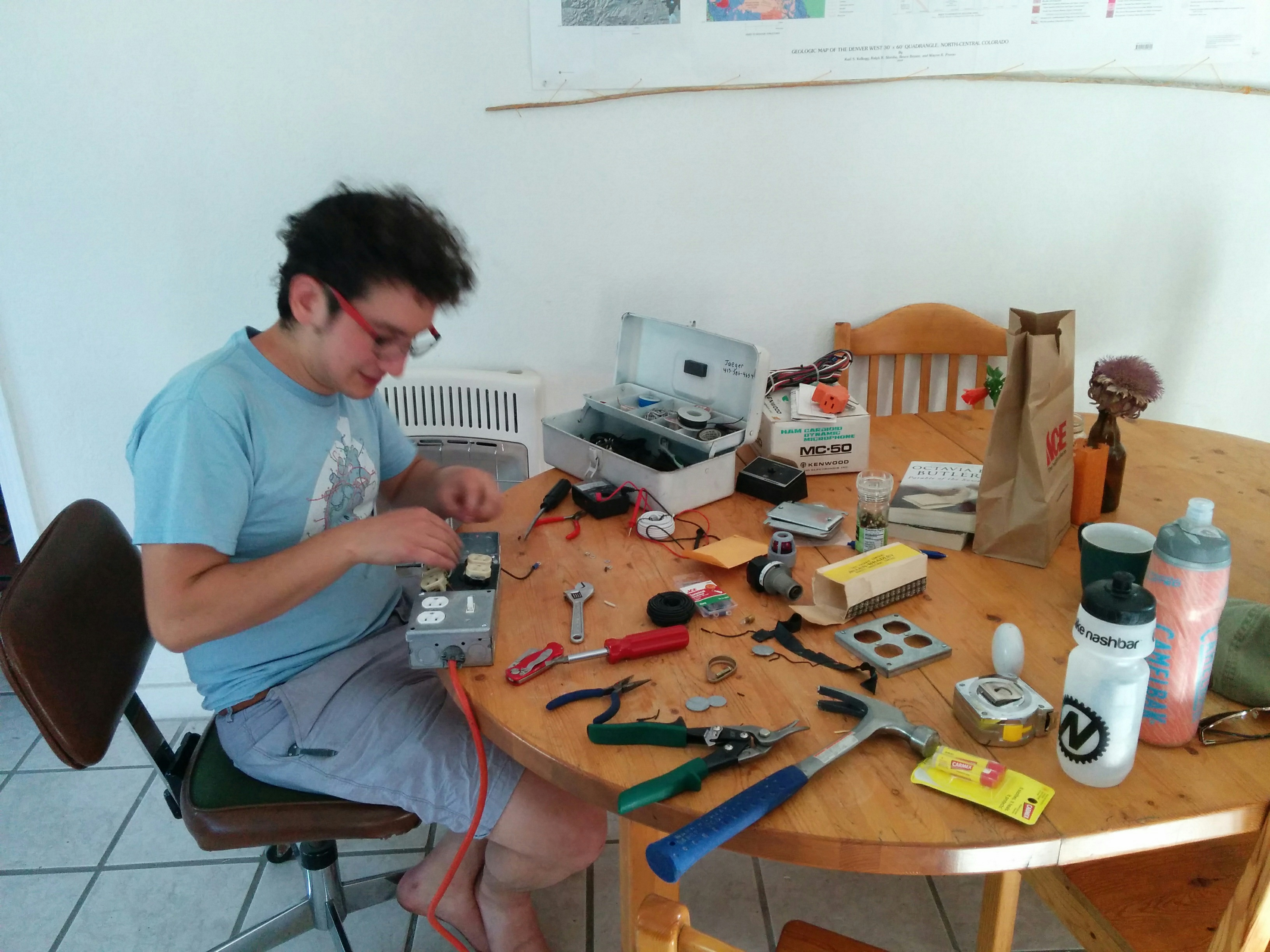 Working on assembly and wiring of the Overly-Dramatic Power Indicator Unit (ODPIU).