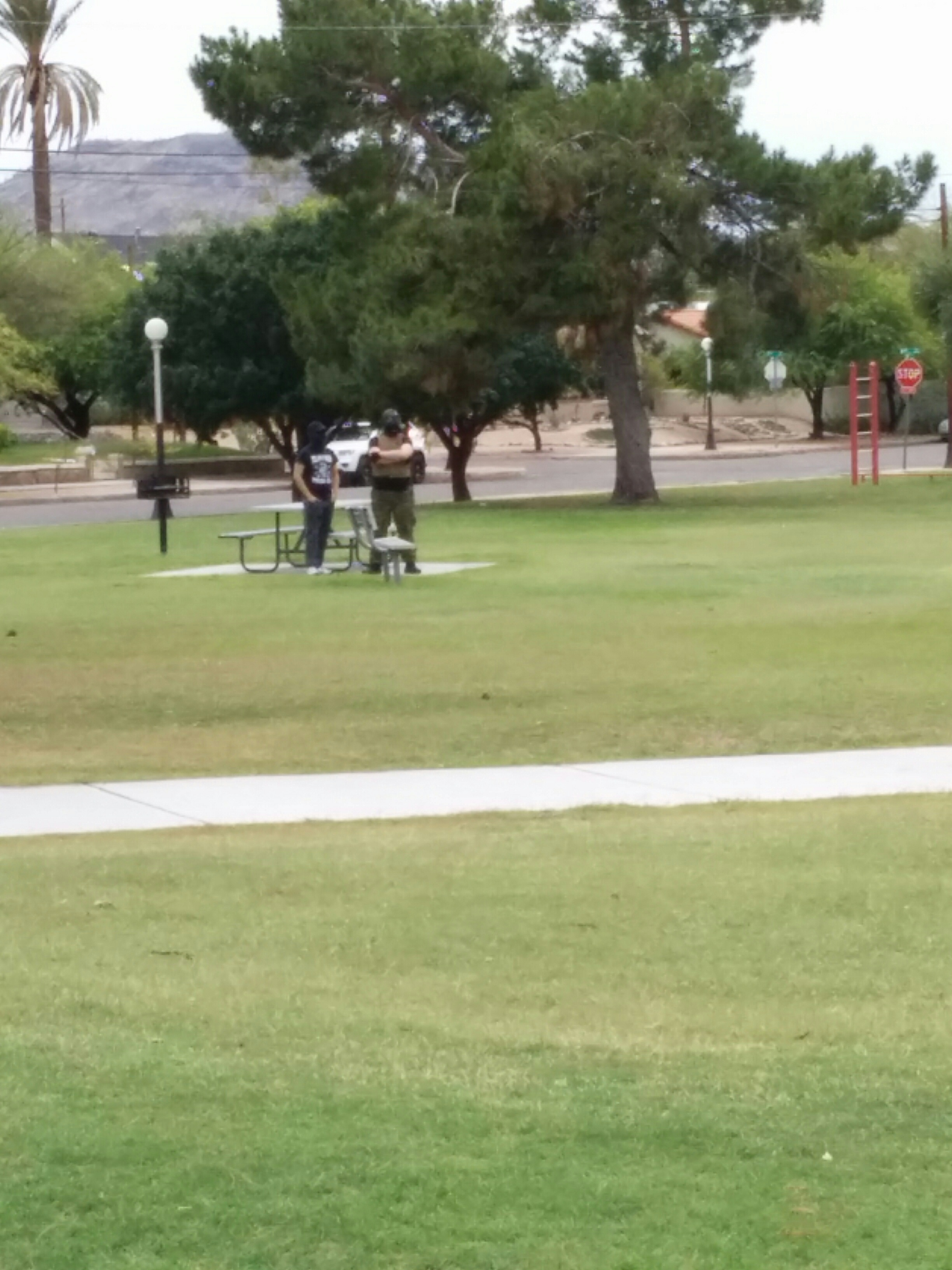 Two Nazis in Catalina park from a distance.  One wears camo pants, a flak jacket and a gask mask.  The other wears grey pants, a White supremacist t-shirt and sunglasses.