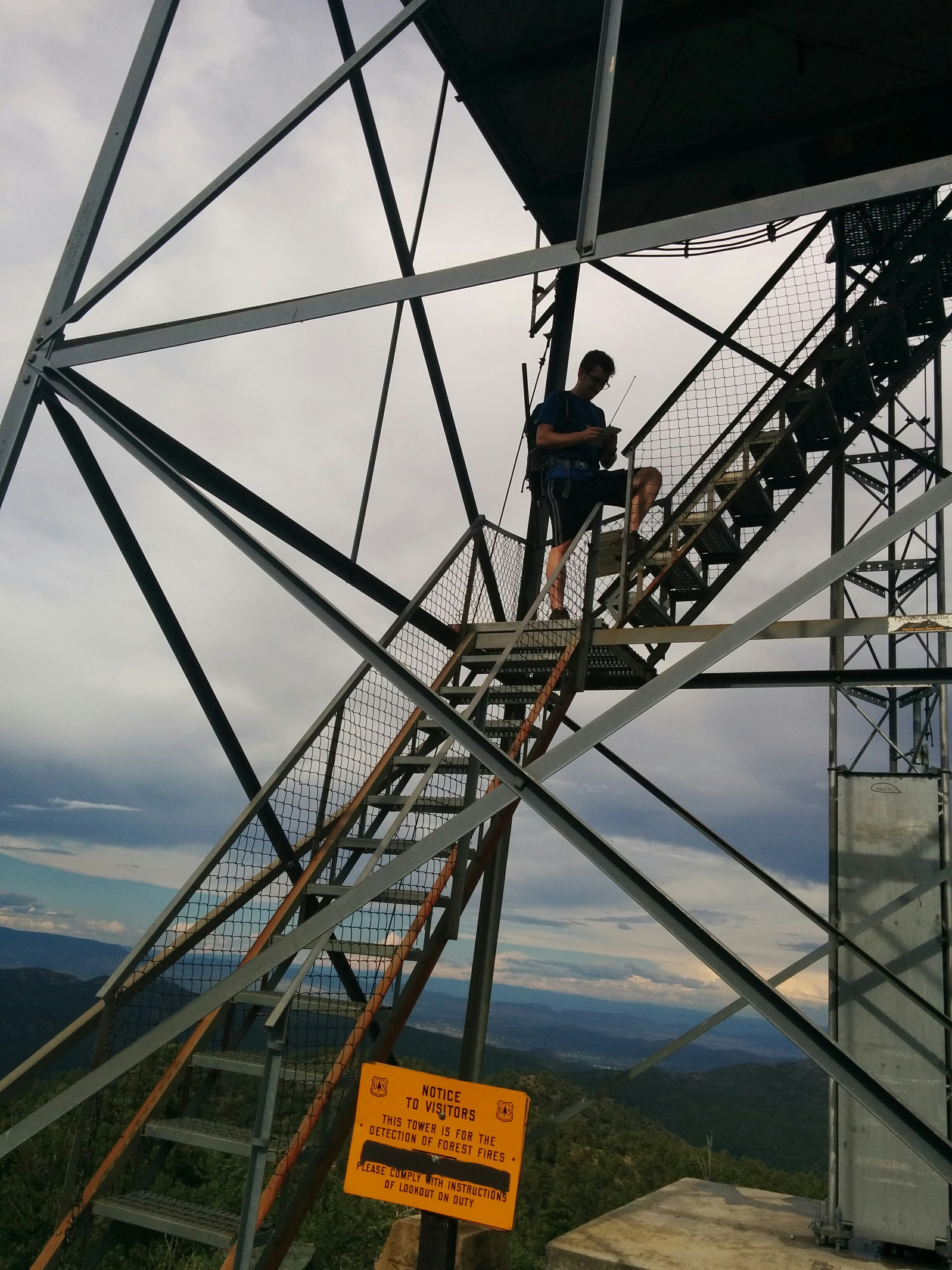 Activating Spruce Mountain on the stairs up to the fire lookout.