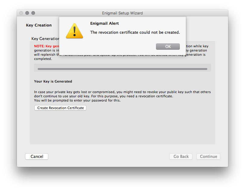 Screenshot of the Enigmail error message.